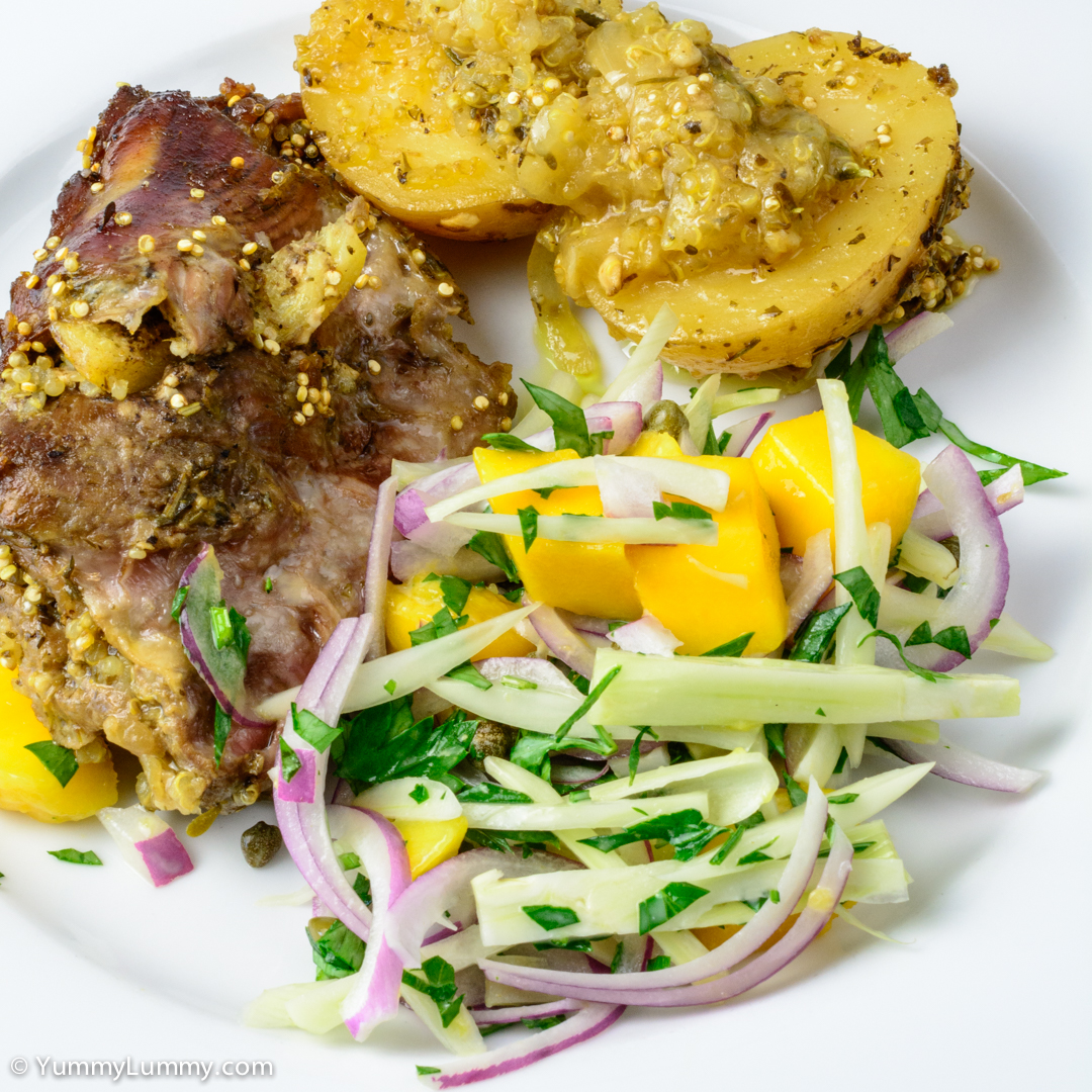 Slowly roasted boneless butterflied shoulder of lamb with roast potatoes and fennel salad NIKON D7100 with 40.0 mm f/2.8 at 40mm and f/16, 1/20sec, ISO 400