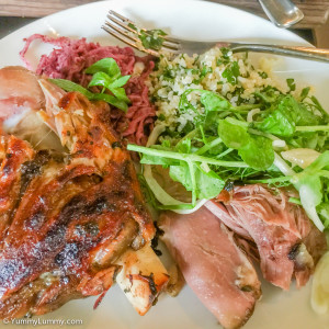 Whole shoulder of lamb with quinoa tabouli and cabbage plus fennel salad