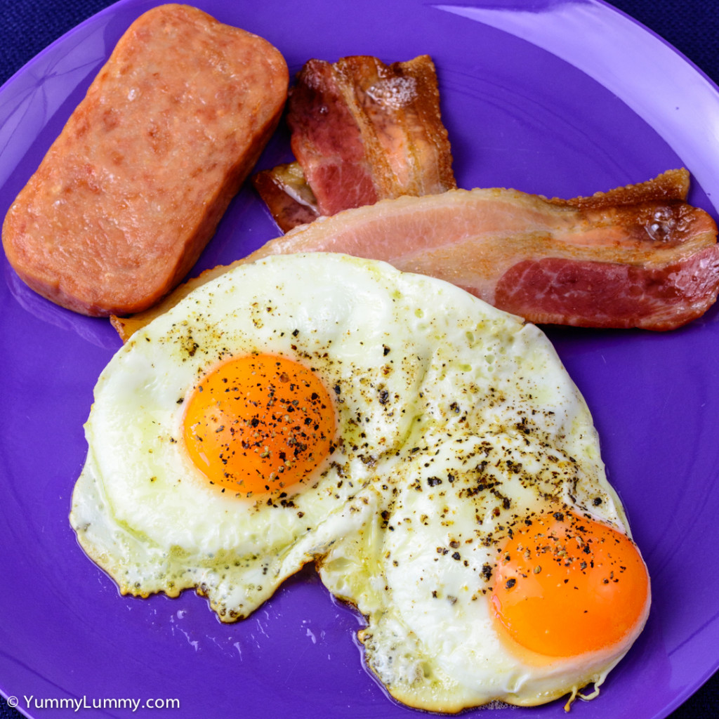 Streaky bacon with Spam and two fried eggs NIKON D7100 with 40.0 mm f/2.8 at 40mm and f/8, 1/125sec, ISO 400