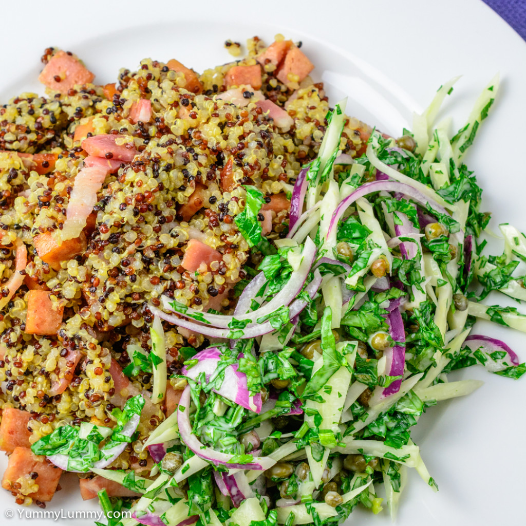 Fennel and red onion salad with quinoa mixed with streaky bacon and Spam
