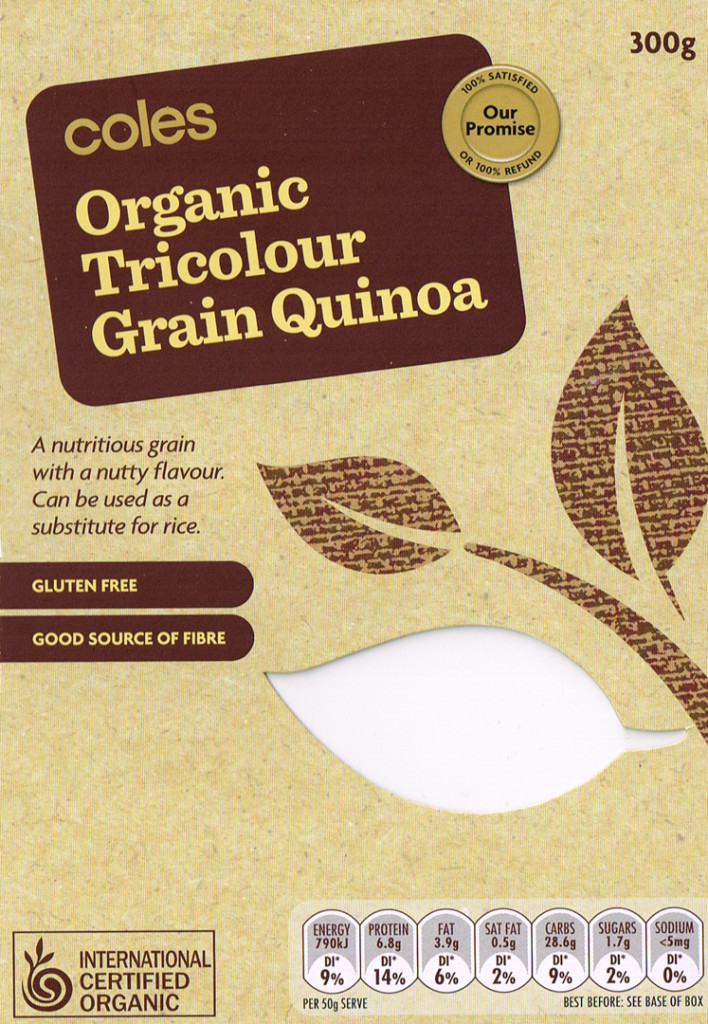 Packaging for Coles organic tricolour grain quinoa