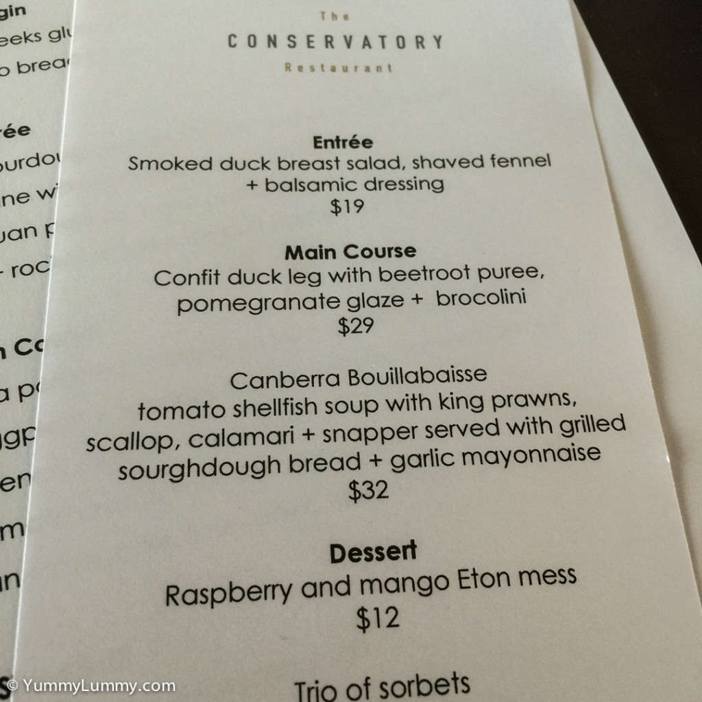 The specials menu for the Conservatory Restaurant at the National Arboretum