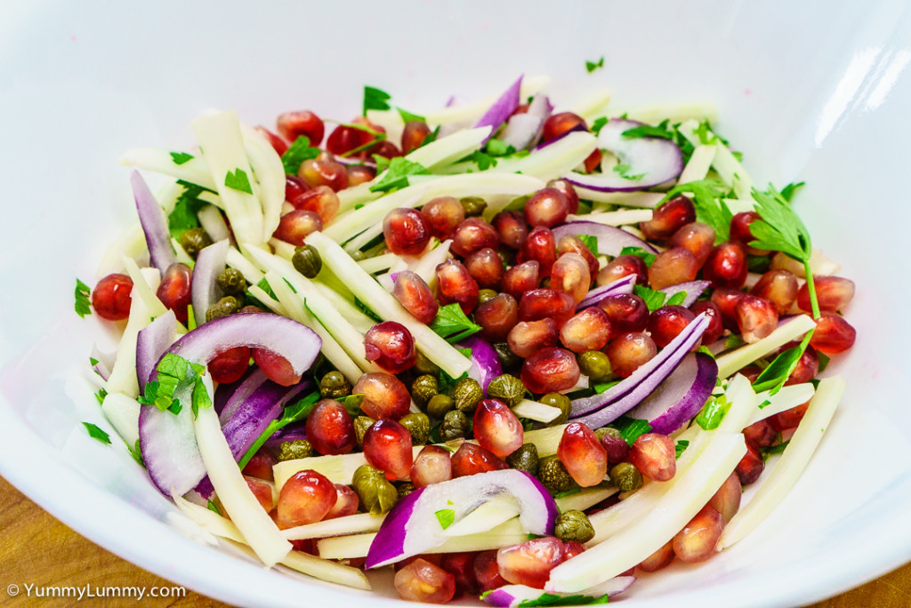 Fennel, red onion, parsley, capers and pomegranate seeds
