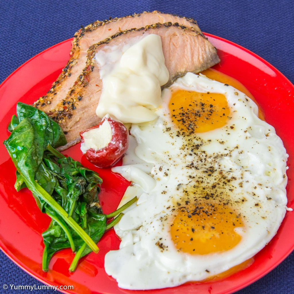 Sunday breakfast was hot smoked salmon with fried eggs and spinach