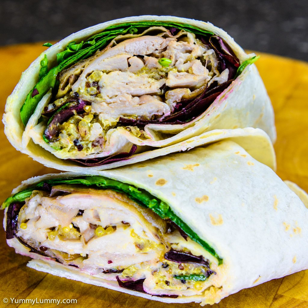 Sweet chili pulled chicken dijon quinoa wrap