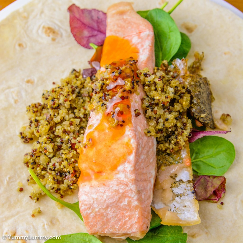 Fresh salmon, quinoa cooked in chicken fat, sweet chili sauce, spinach leaves, chard and a Helga's wrap
