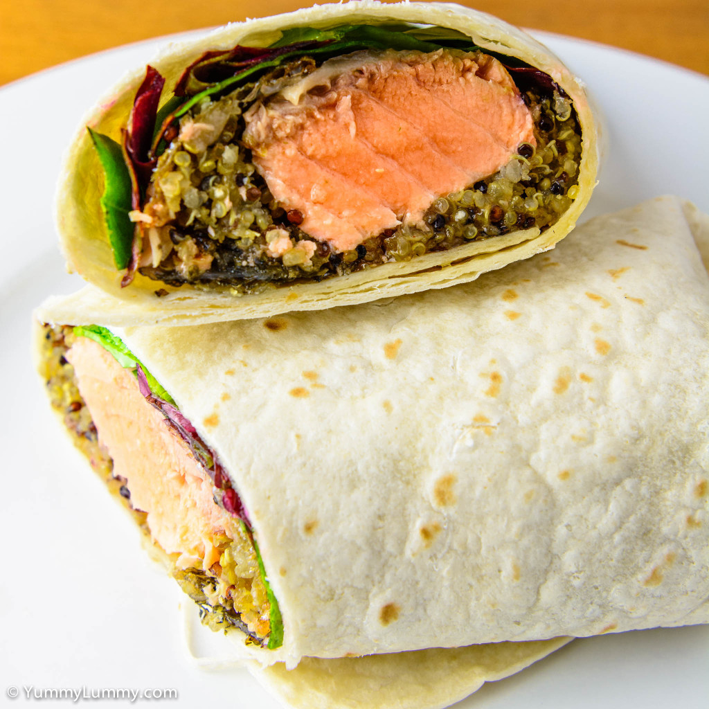 Cross section. Fresh salmon, quinoa cooked in chicken fat, sweet chili sauce, spinach leaves, chard and a Helga's wrap.