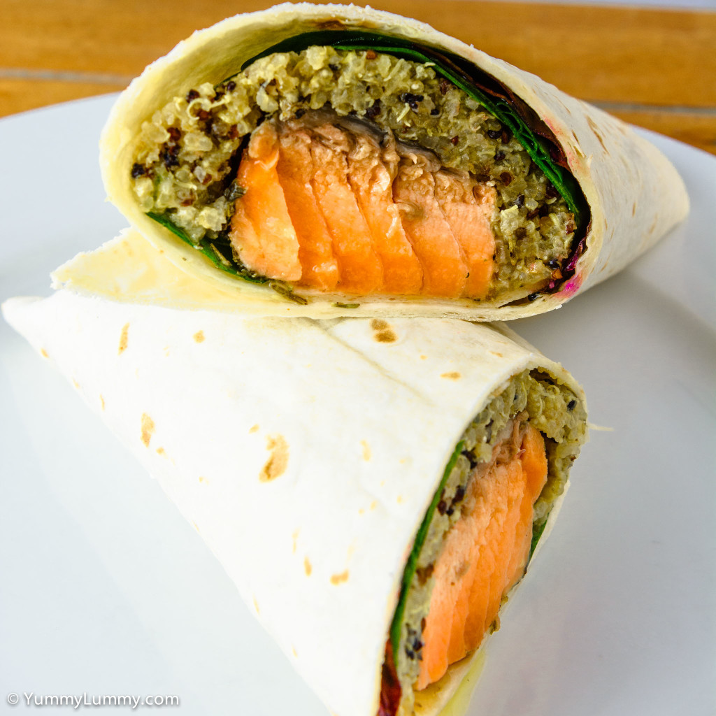 Cross section. Fresh salmon, dijon quinoa cooked in chicken fat, sweet chili sauce, spinach leaves, chard and a Helga's wrap.