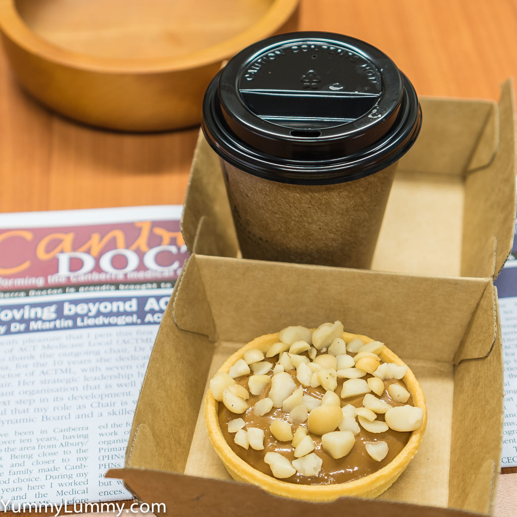 Caramel tart topped with Queensland nuts (Genus Macadamia)