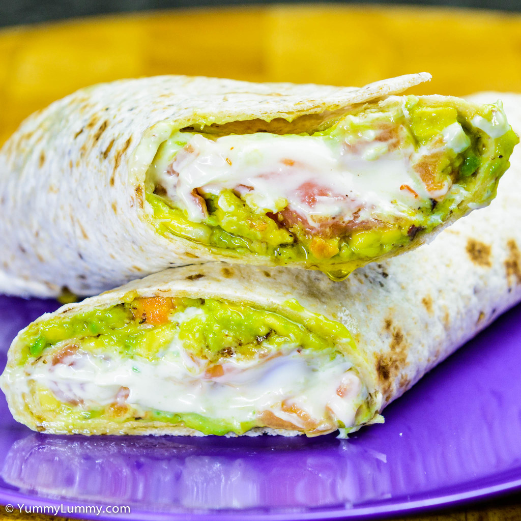 Yummy Lummy's avocado pea smash smoked salmon wrap