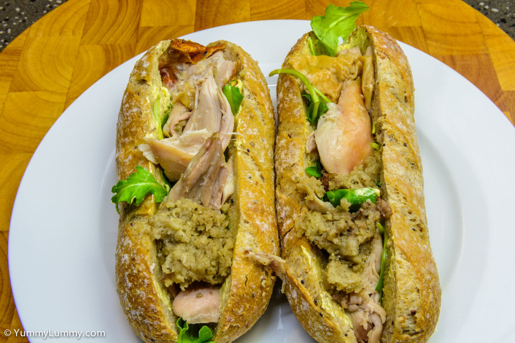 Wholemeal and quinoa pane di casa with lashings of butter and a layer of roquette topped with roast chicken and stuffing