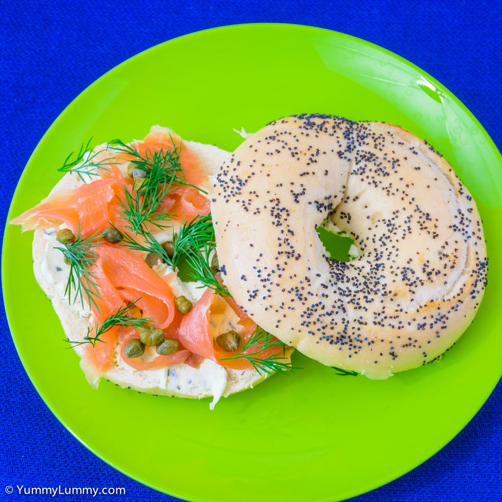Smoked salmon, dill, capers, and cream cheese on a bagel | salmon sandwiches