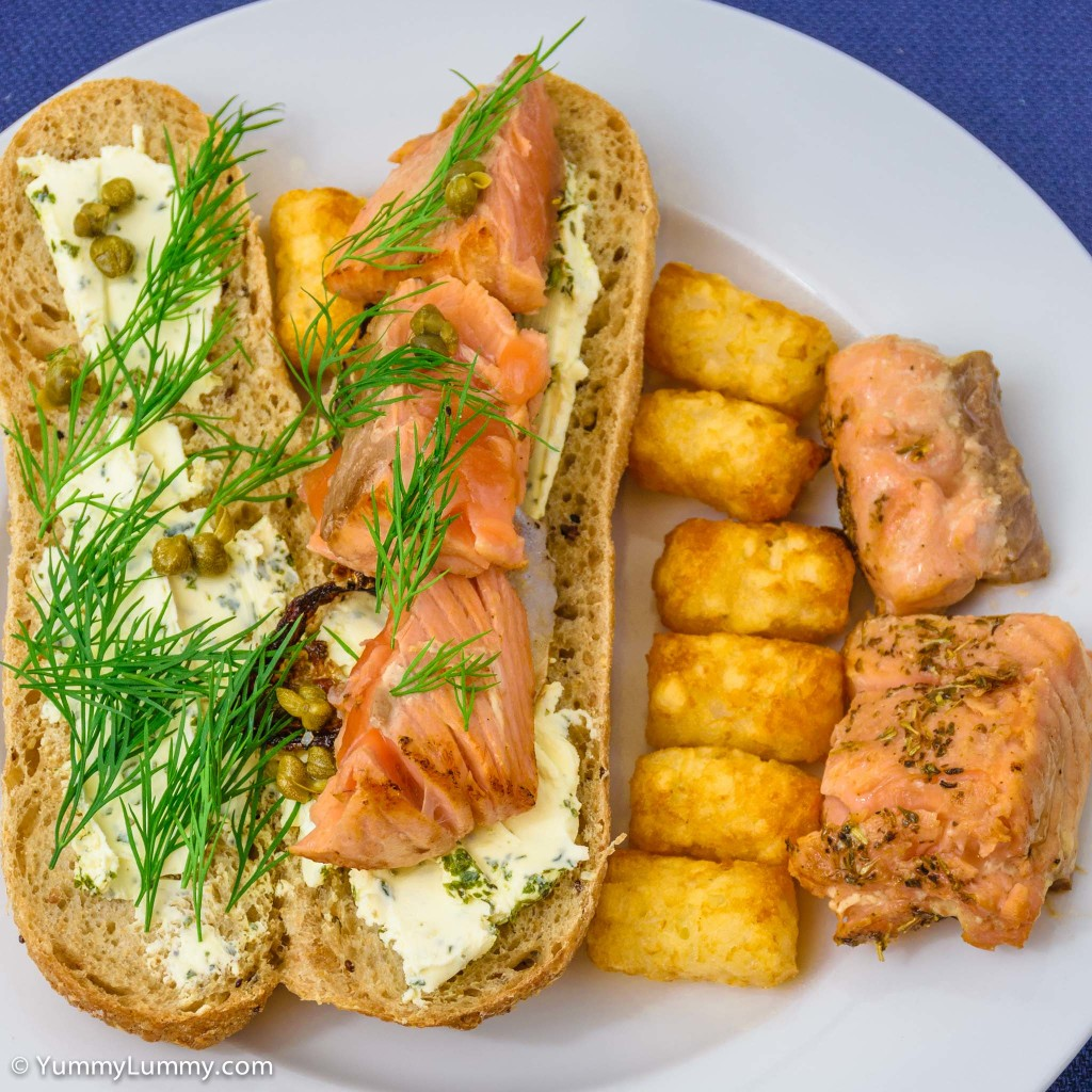 Atlantic salmon, dill, capers, and cream cheese on quinoa and whole grain pane di casa with potato gems | salmon sandwiches