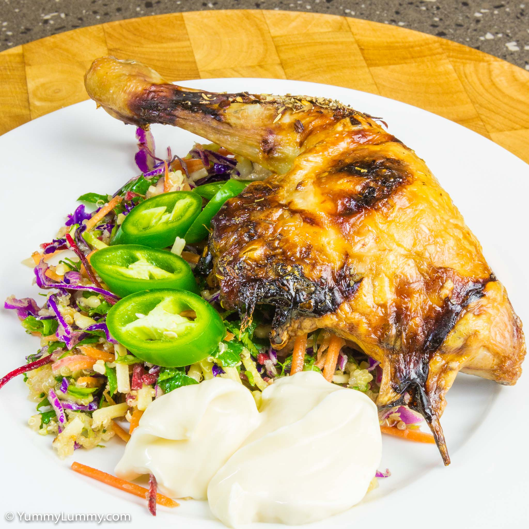 Delicious roasted Chicken Maryland with kale coleslaw, grated cheese ...