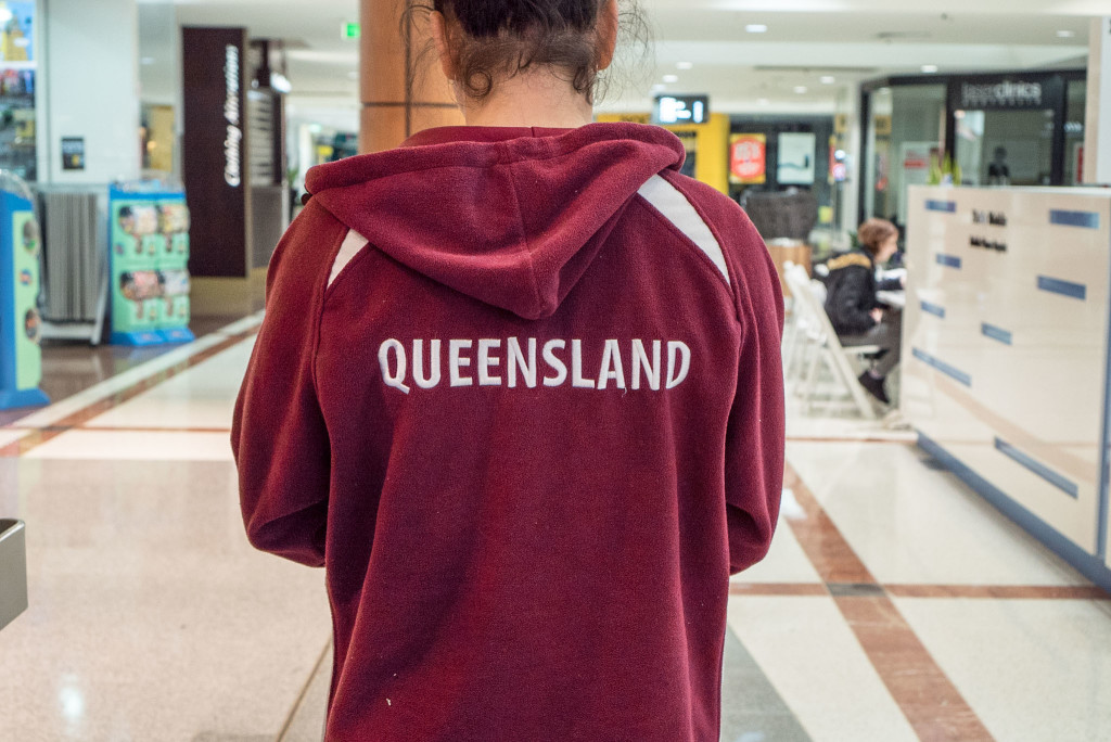 Miss17 in her Queensland hoodie