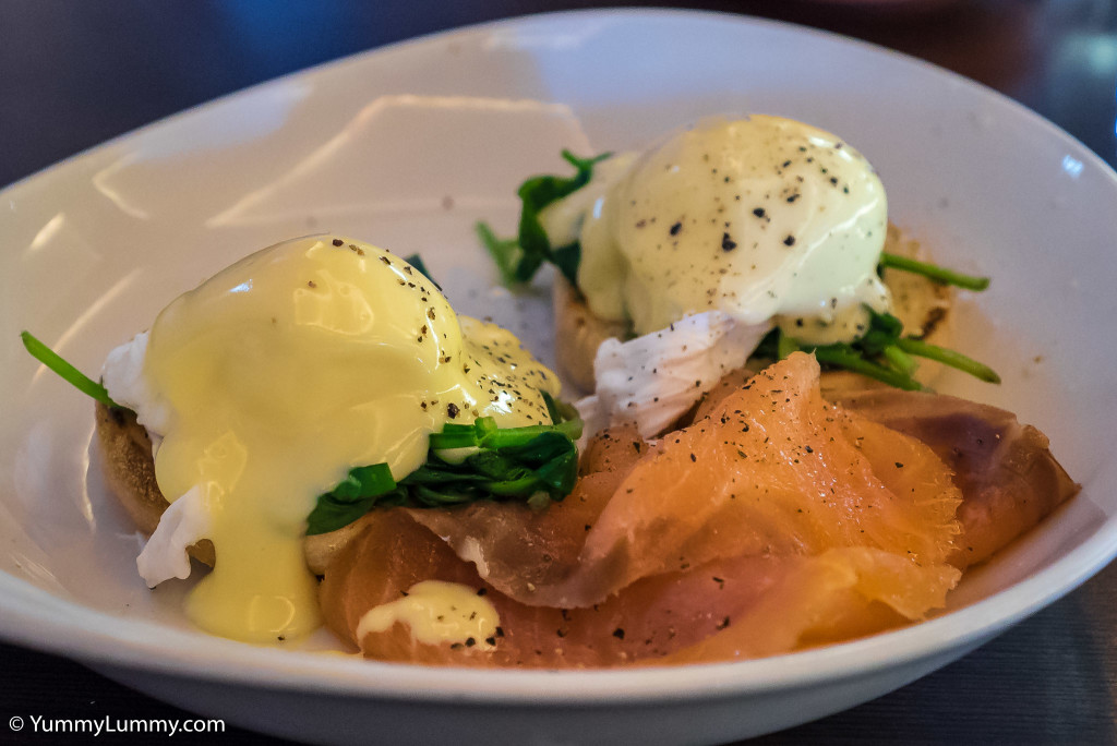 Eggs Florentine and smoked salmon from Groove Train Chermside