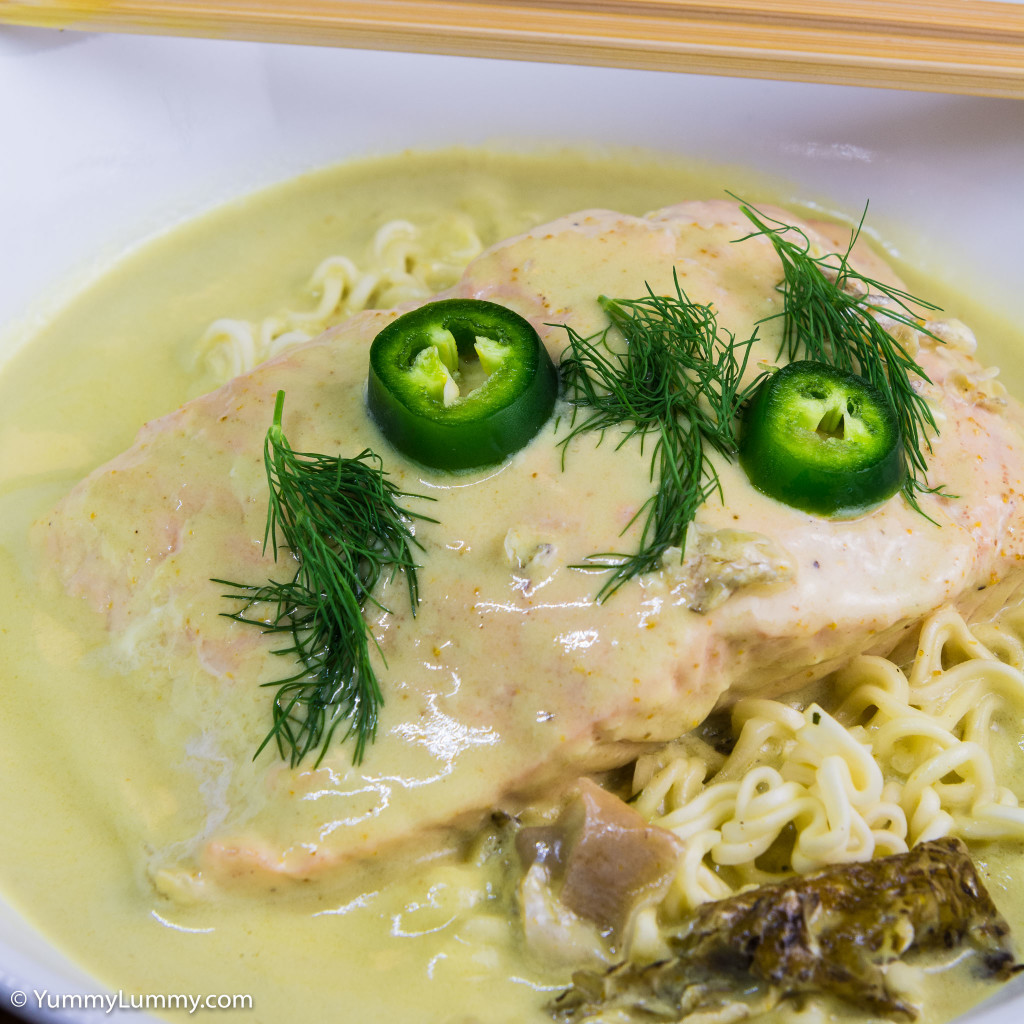 Curried salmon and noodles