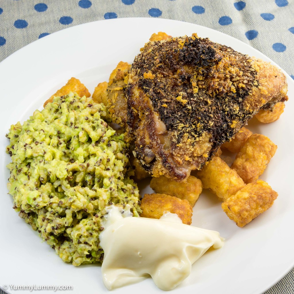 Panko chicken thigh with avocado rice and potato gems