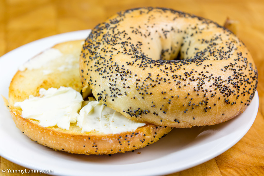 Pan fried bagel with cream cheese