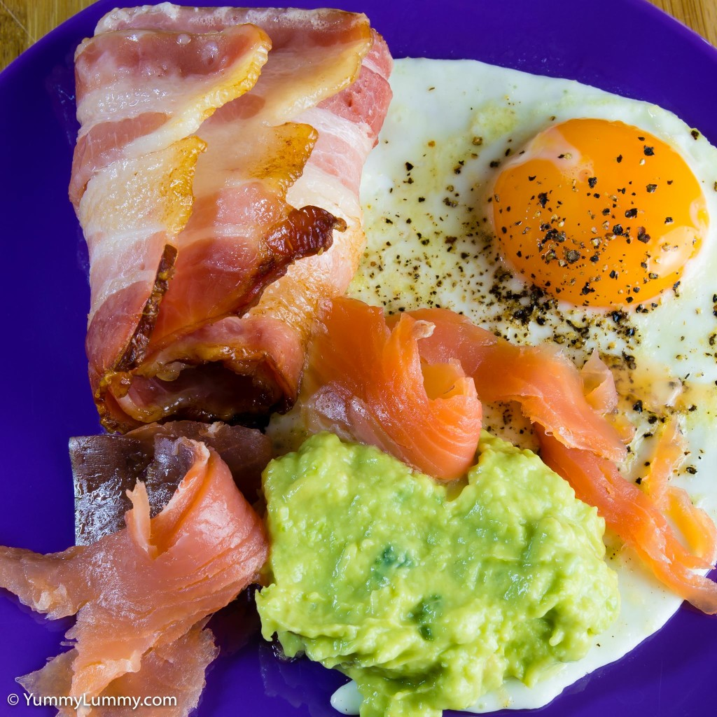 Bacon and fried egg with jalapeño avocado and smoked salmon
