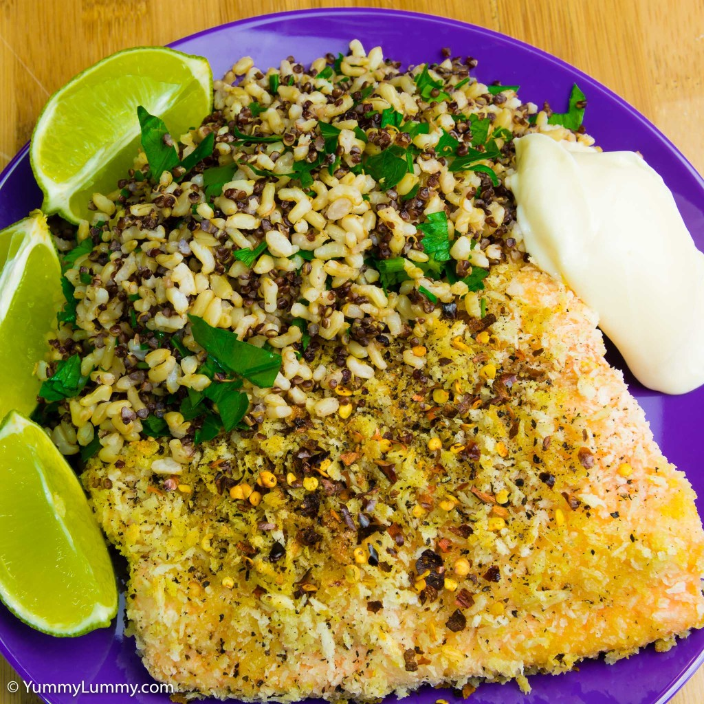 Panko crumbed salmon with rice and quinoa
