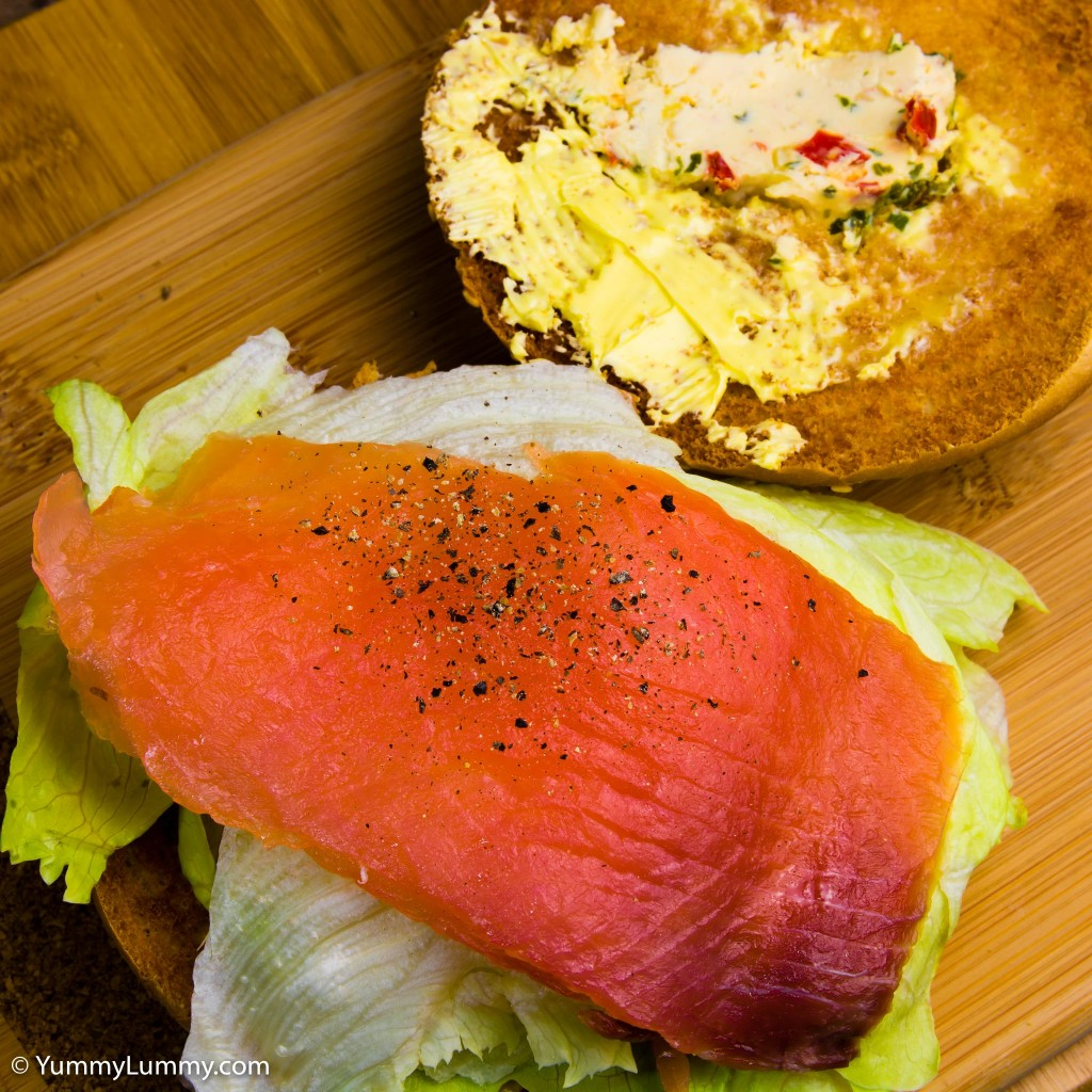 Smoked salmon breakfast burger