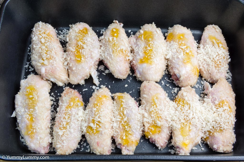 Chicken wings ready for the oven with panko crumbs, golden syrup