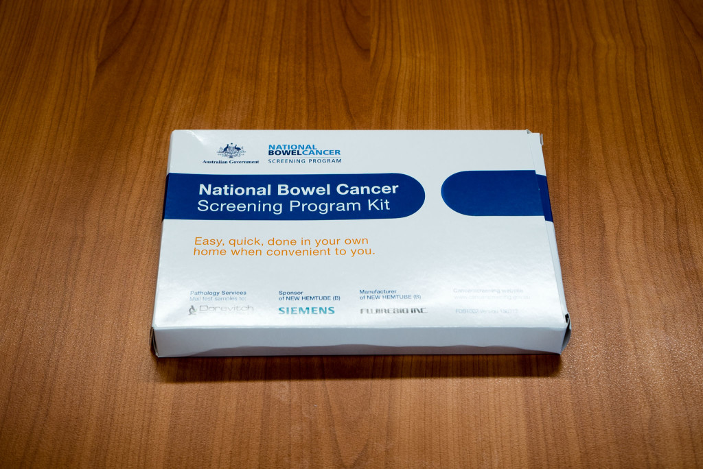 Bowel Carcinoma Screening Kit. All the bits and pieces fit inside this box.