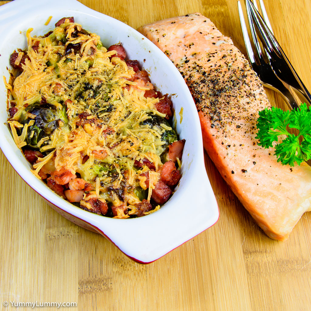 Brussels sprouts and bacon with baked salmon