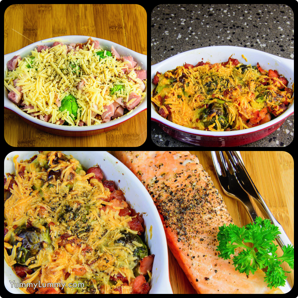 Baked salmon, Brussels sprouts, bacon and parmesan diptic