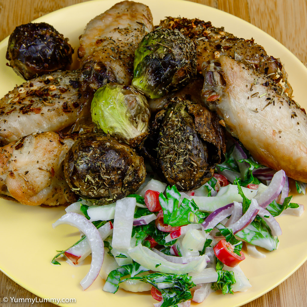 The best low carb chicken wings served with Brussels sprouts and fennel salad