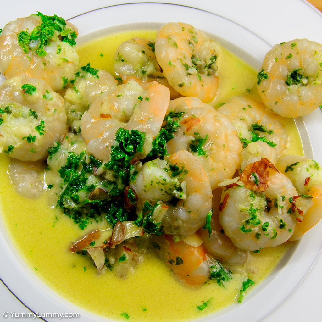 Creamy garlic prawns and parsley