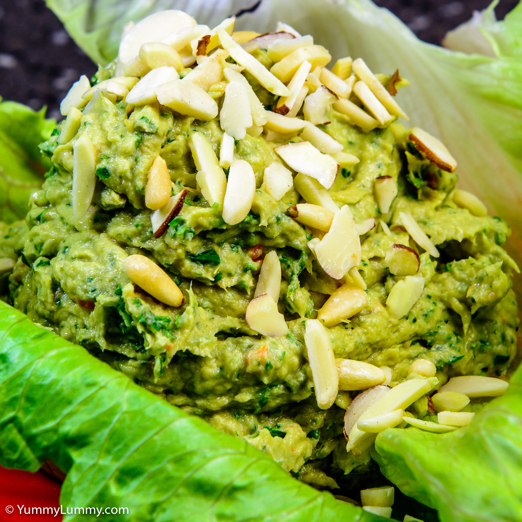 Salmon and avocado lettuce wrap