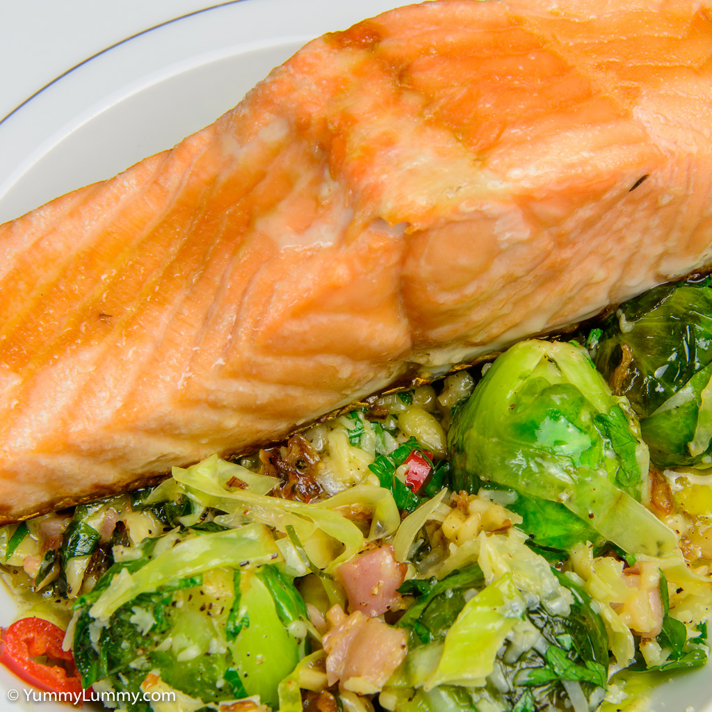 A close up of my baked salmon with creamy Brussels sprouts