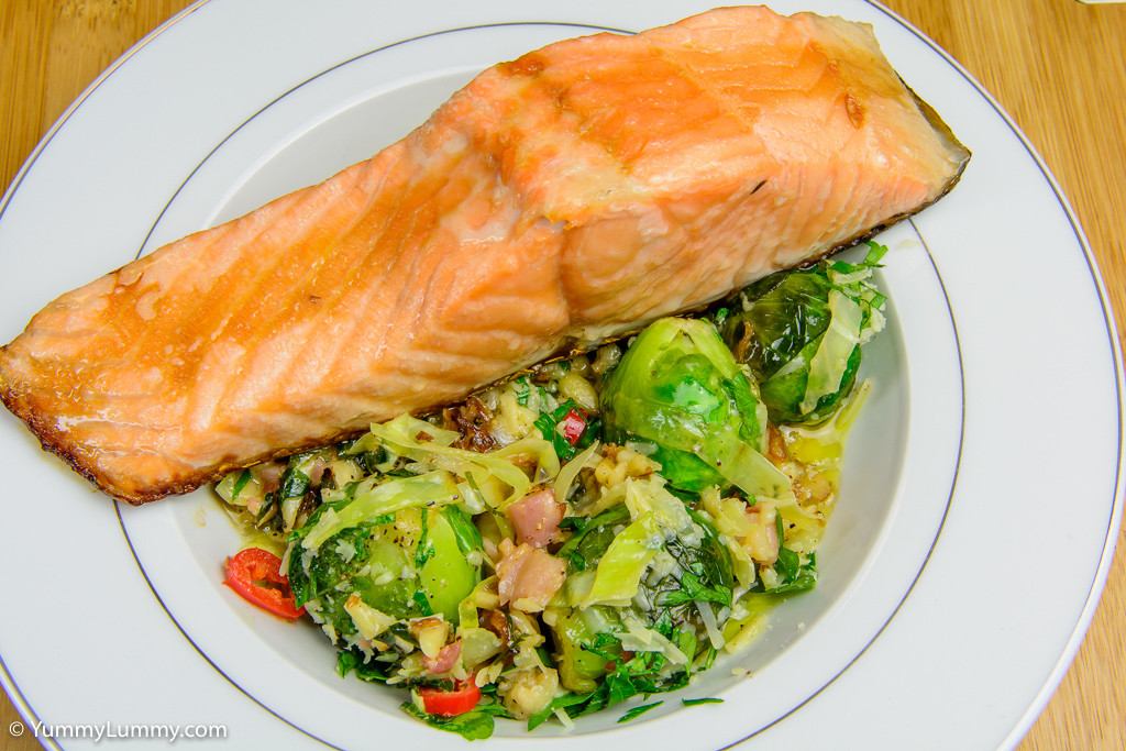 Baked salmon with creamy Brussels sprouts