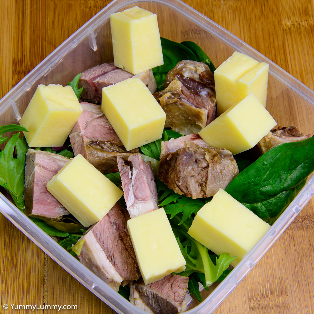 Leftover lamb with cheese and leaves