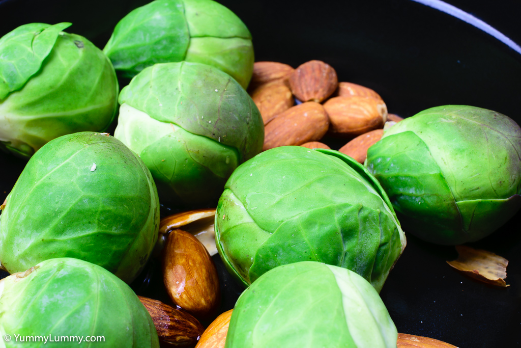 Raw Brussels sprouts and almonds