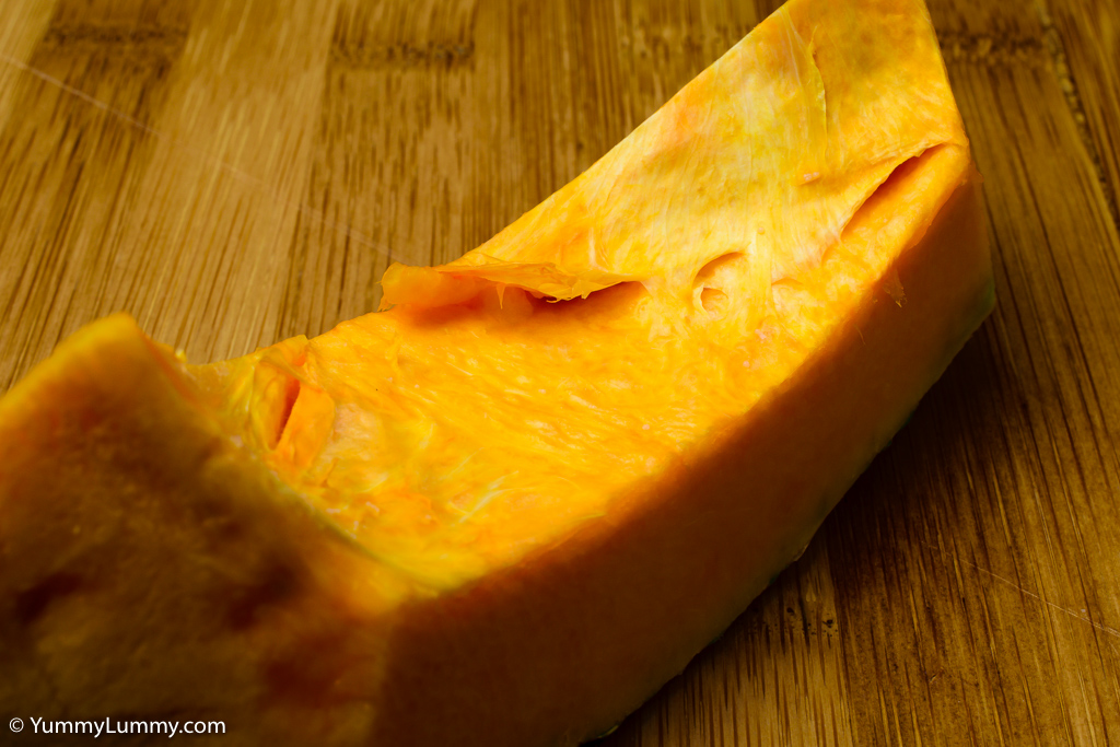 Raw slice of pumpkin waiting for the oven