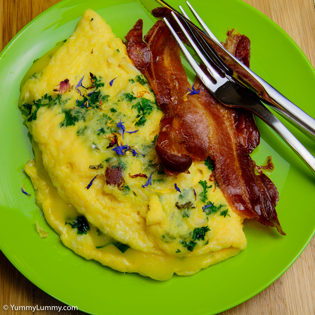 Crispy bacon and cheese omelet for Sunday breakfast