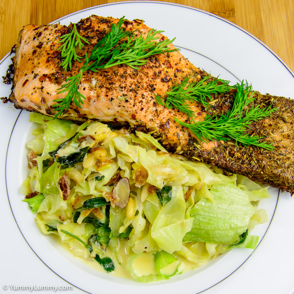 Baked salmon and creamy cabbage with nuts for crunch