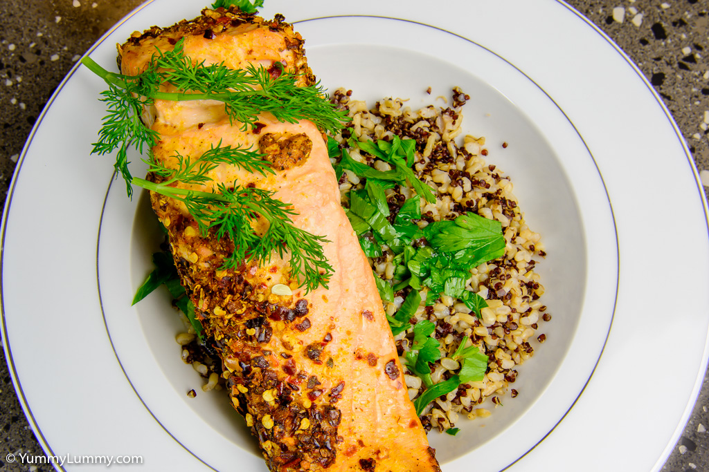 Low fat baked salmon with rice and quinoa