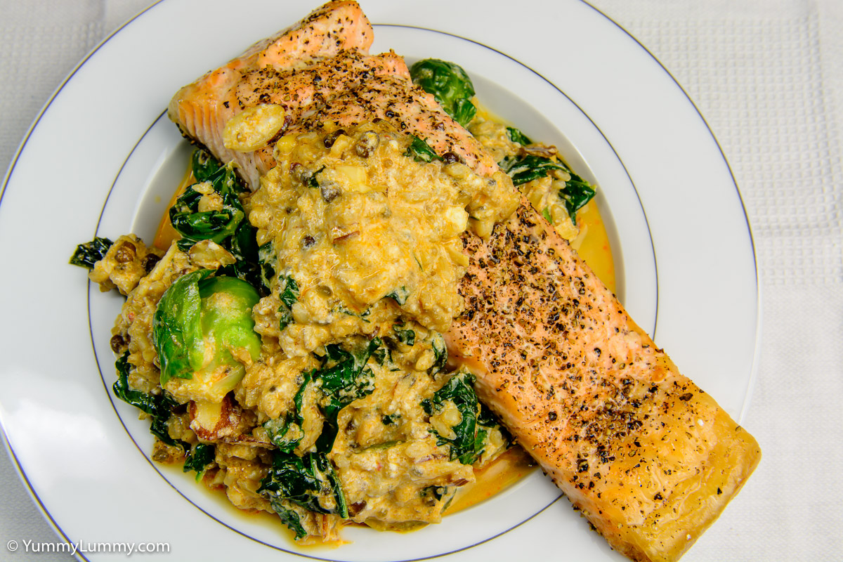 Monday dinner. Red curry salmon with kale, quinoa and rice.