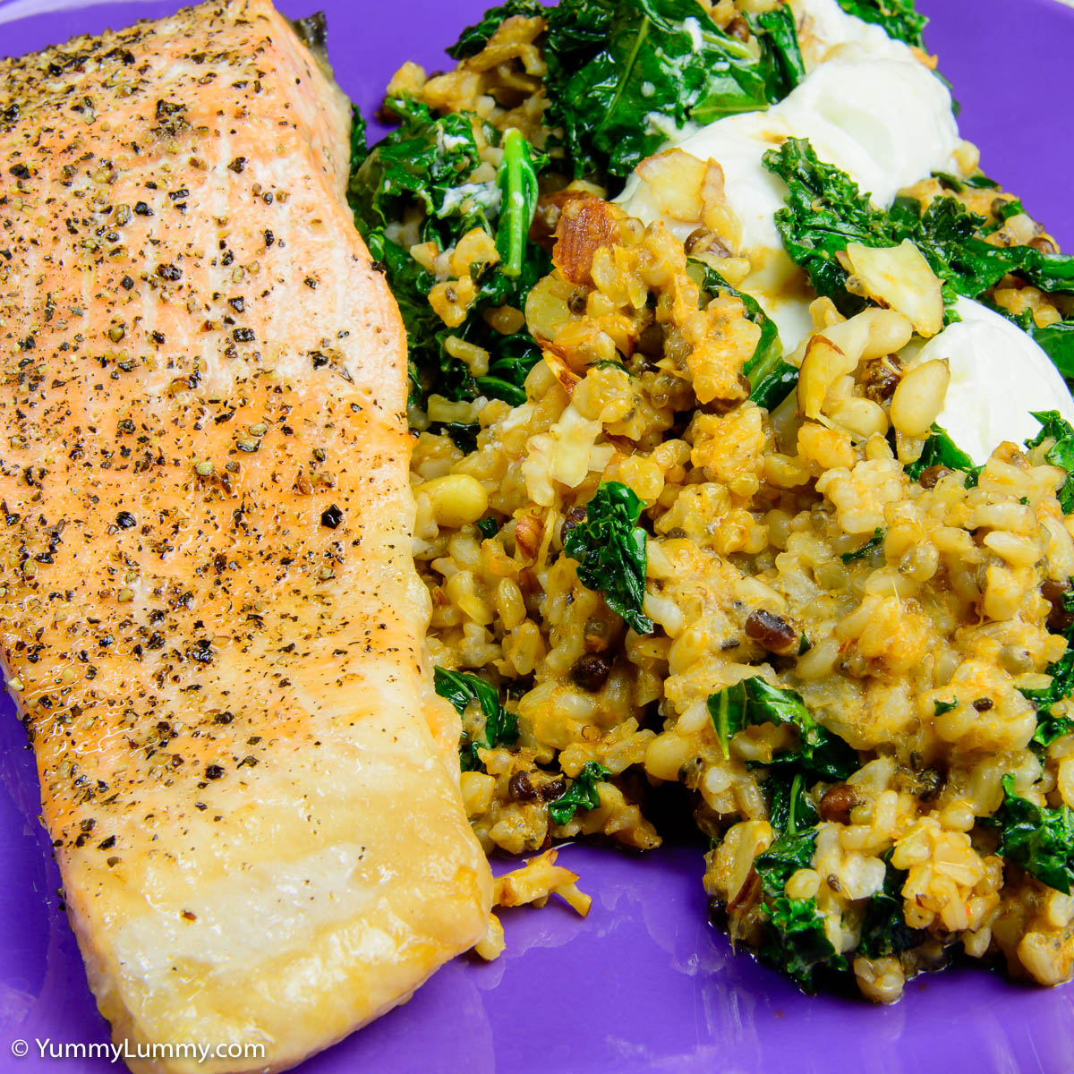 Tuesday dinner. Curry salmon with kale, quinoa and rice.