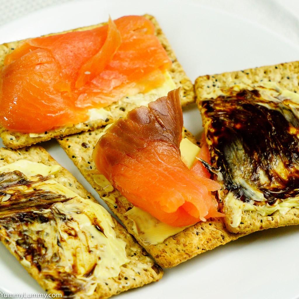 Smoked salmon and vegemite on VitaWeat