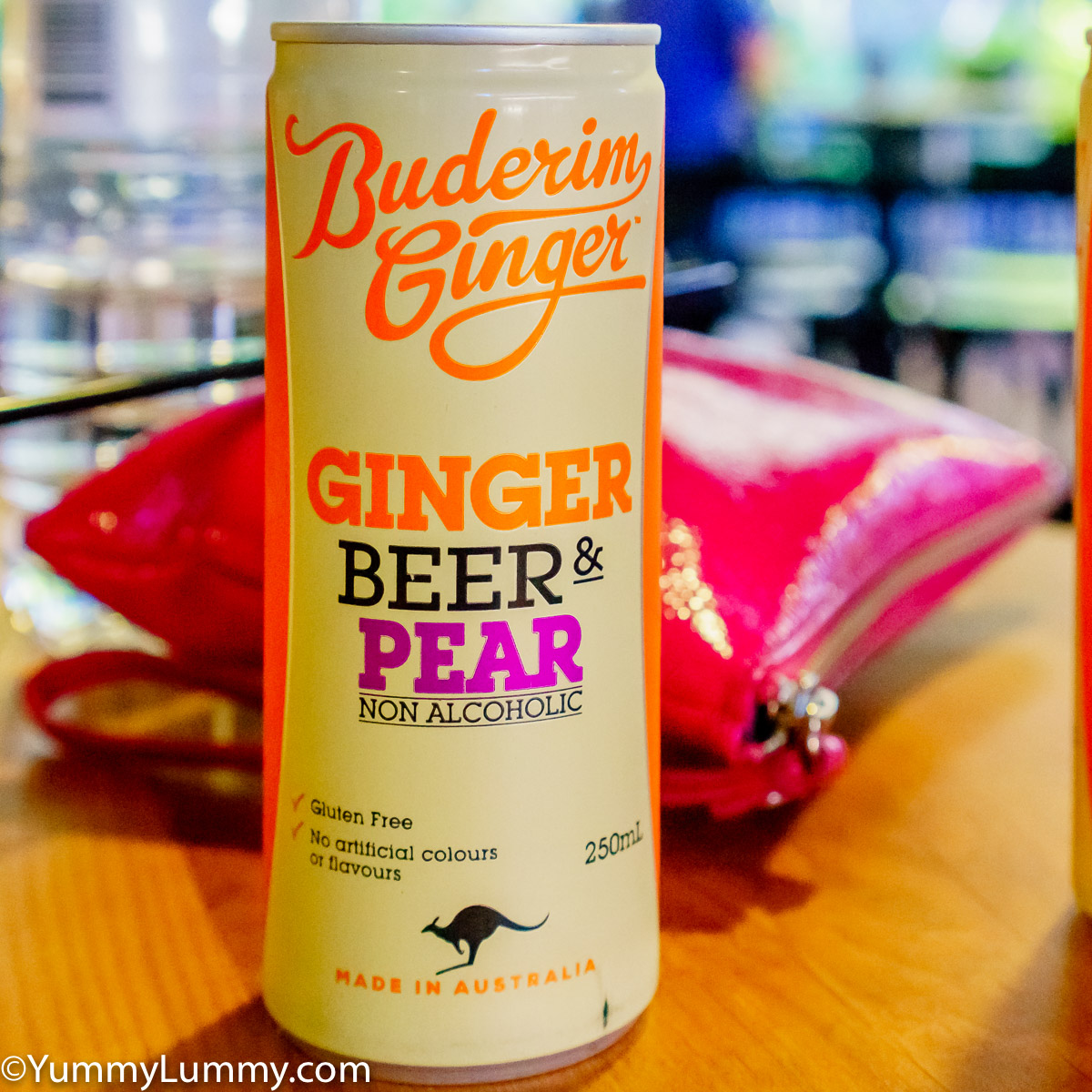 A can of Buderim ginger beer and pear