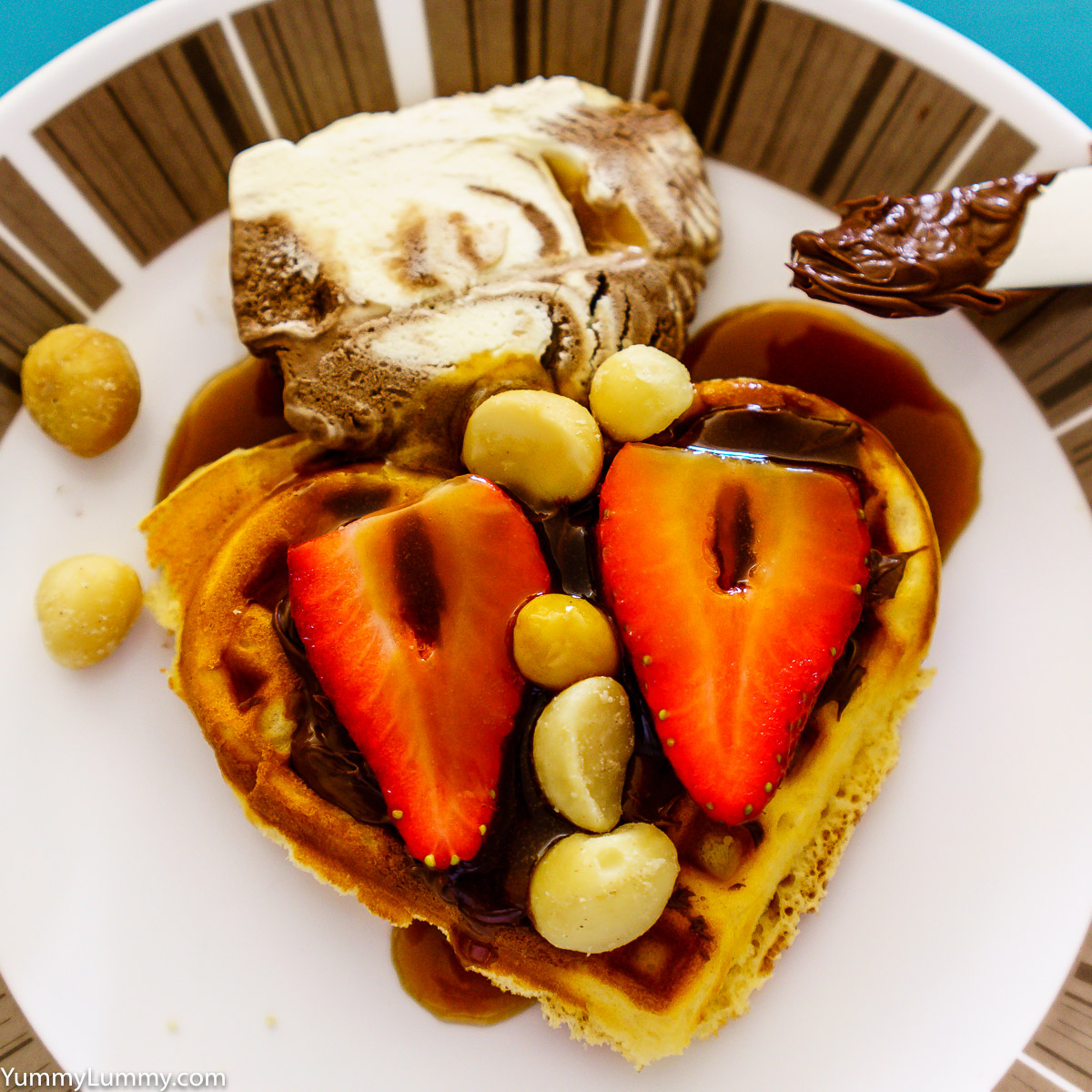 Waffle with butterscotch sauce, ice cream, nutella, fruit and Queensland nuts