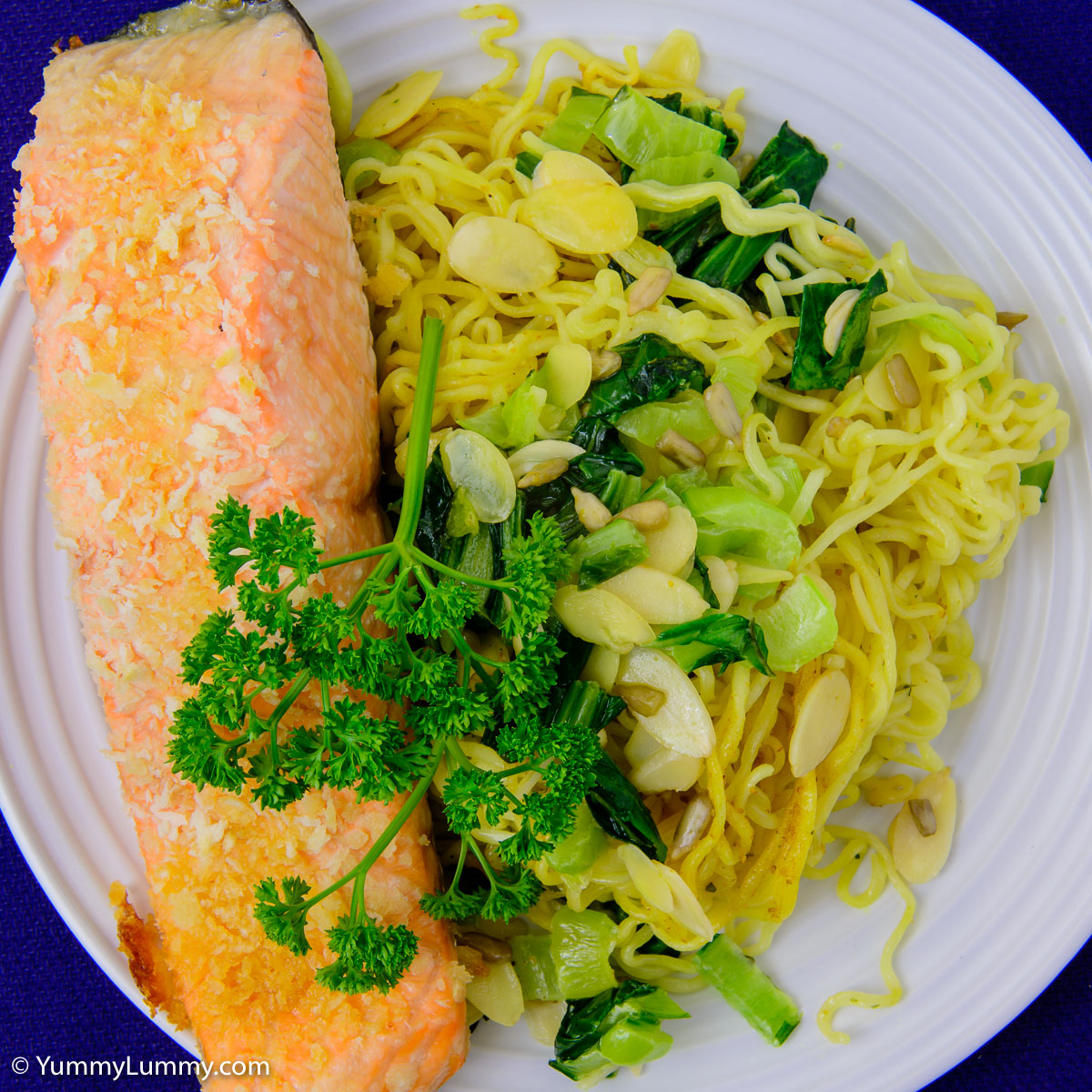 Monday dinner. Baked salmon with coconut noodles and bok choi.