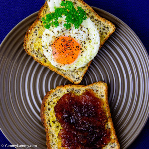 Tuesday breakfast. Fried egg on toast with marmalade.
