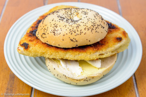 Saturday lunch. Chicken schnitzel in a poppy seed bagel with light cream cheese.