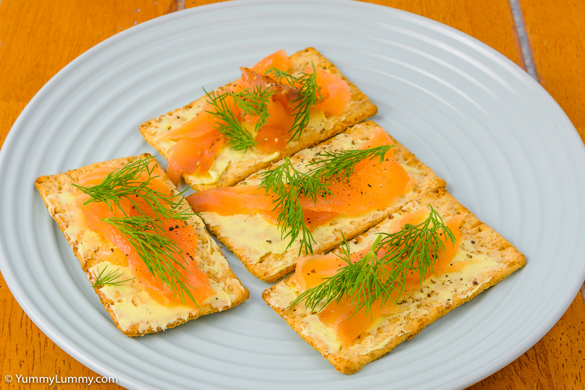 Sunday afternoon tea. Smoked salmon on VitaWeat biscuits.